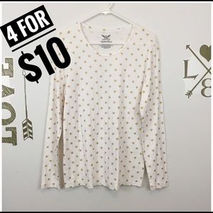 FADED GLORY WHITE STAR PRINT TOP